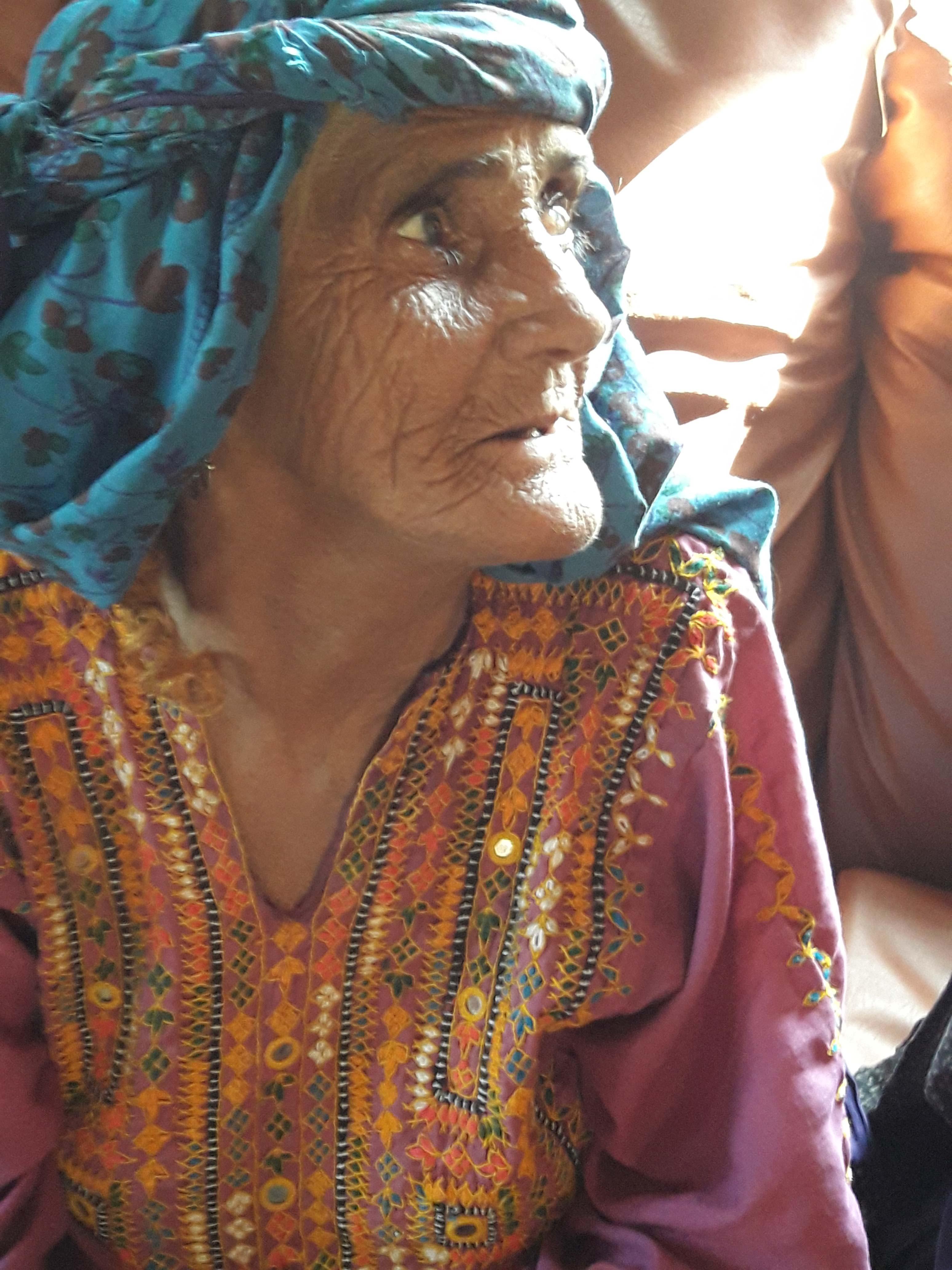 An elderly woman in Larkana